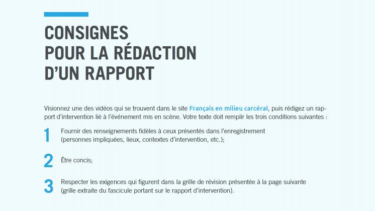 Document : Consignes pour la rédaction d'un rapport