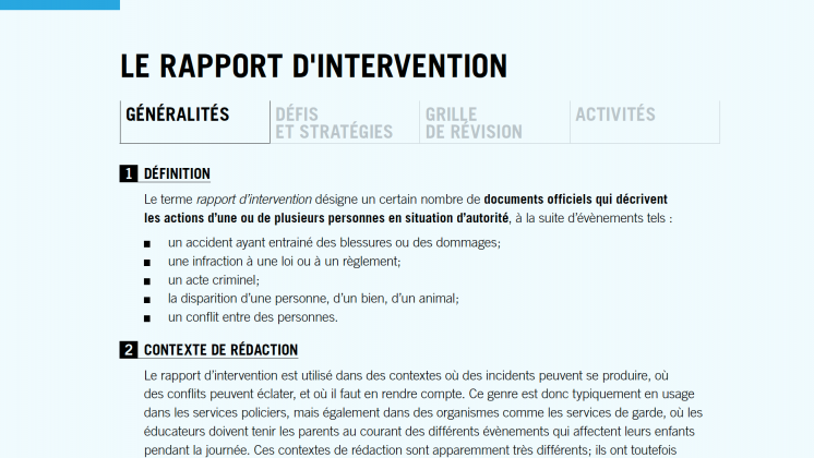 Le rapport d'intervention