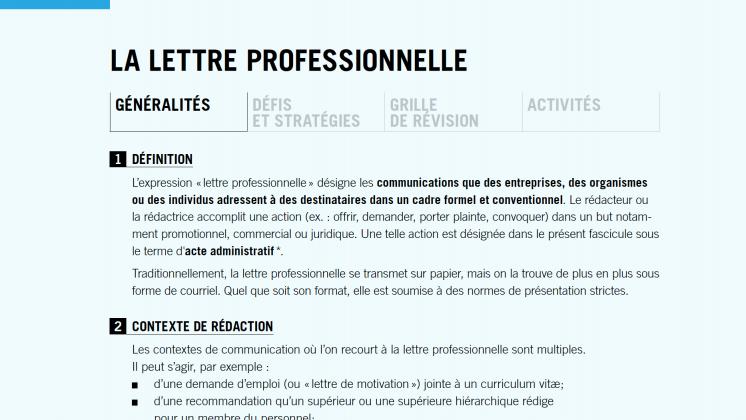 Document : La lettre professionnelle
