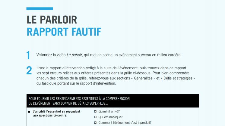 Document : Le parloir – Rapport fautif
