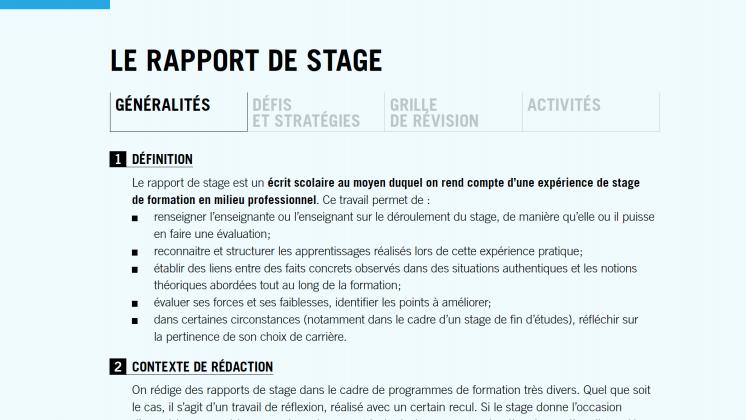 Document : Le rapport de stage